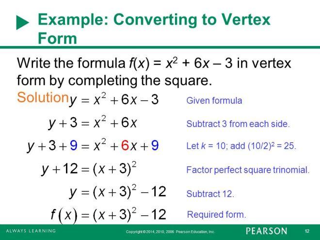 Day 82 Converting Standard Form To Vertex Form Kipp Renaissance